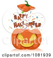 Clipart Happy Halloween Bursting Out Of A Jackolantern Royalty Free Vector Illustration