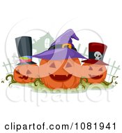 Clipart Three Jackolanterns Wearing Hats Royalty Free Vector Illustration