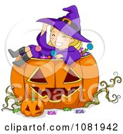 Clipart Halloween Witch Girl Sitting In A Jackolantern Royalty Free Vector Illustration