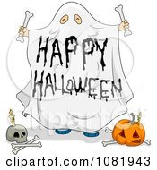 Clipart Sheet Ghost Happy Halloween Greeting Royalty Free Vector Illustration by BNP Design Studio