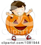 Clipart Halloween Boy In A Jackolantern Costume Royalty Free Vector Illustration