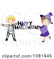 Clipart Skeleton And Witch Kids Holding A Happy Halloween Greeting Royalty Free Vector Illustration