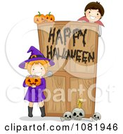 Clipart Witch And Vampire At A Happy Halloween Haunted House Door Royalty Free Vector Illustration by BNP Design Studio