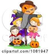 Clipart Halloween Kids With A Scarecrow Royalty Free Vector Illustration by BNP Design Studio