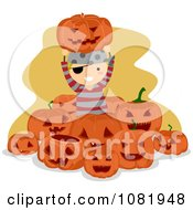Clipart Pirate Halloween Boy Surrounded By Jackolanterns Royalty Free Vector Illustration