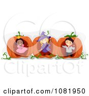 Clipart Halloween Kids Playing In Giant Pumpkins Royalty Free Vector Illustration
