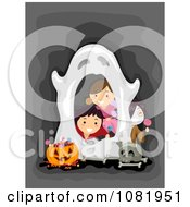 Clipart Halloween Kids Peeking Through A Ghost Frame Royalty Free Vector Illustration