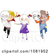 Clipart Halloween Kids With Skull Masks Royalty Free Vector Illustration
