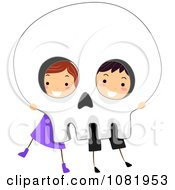Clipart Halloween Kids Peeking Through Eye Sockets Of A Skull Royalty Free Vector Illustration