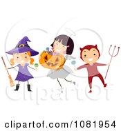 Clipart Witch Angel And Devil Halloween Kids Royalty Free Vector Illustration