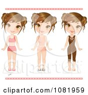 Clipart Three Girls In Different Clothes With Cut Out Guides Royalty Free Vector Illustration
