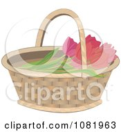 Clipart Basket With Pink Tulips Royalty Free Vector Illustration