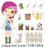 Clipart Gardening Woman With Tools Royalty Free Vector Illustration