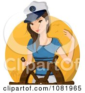 Clipart Sailor Woman Captain At The Helm Royalty Free Vector Illustration by Melisende Vector #COLLC1081965-0068