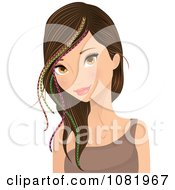 Clipart Young Woman Wearing Colorful Feather Hair Extensions Royalty Free Vector Illustration by Melisende Vector #COLLC1081967-0068