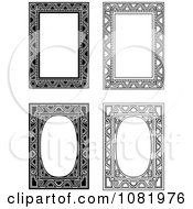 Clipart Four Black And White Frame Borders With Copyspace 3 Royalty Free Vector Illustration by Frisko