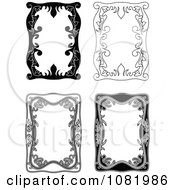 Clipart Four Black And White Frame Borders With Copyspace 2 Royalty Free Vector Illustration