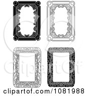Clipart Four Black And White Frame Borders With Copyspace 1 Royalty Free Vector Illustration