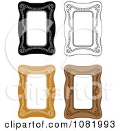 Clipart Brown And Black And White Frame Borders With Copyspace Royalty Free Vector Illustration