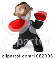 3d Indian Business Guy Punching With Boxing Gloves 1