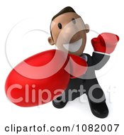 3d Indian Business Guy Punching With Boxing Gloves 2