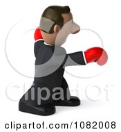 3d Indian Business Guy Punching With Boxing Gloves 3