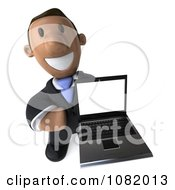 3d Indian Business Guy Presenting A Laptop Computer 3