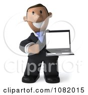3d Indian Business Guy Presenting A Laptop Computer 1