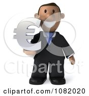3d Indian Business Guy Holding A Euro Symbol 1