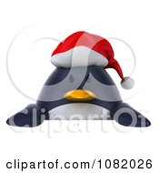 Clipart 3d Chubby Christmas Penguin With A Sign 1 Royalty Free CGI Illustration