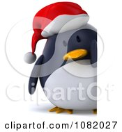 Clipart 3d Chubby Christmas Penguin With A Sign 2 Royalty Free CGI Illustration