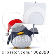 Clipart 3d Chubby Christmas Penguin With A Sign 3 Royalty Free CGI Illustration
