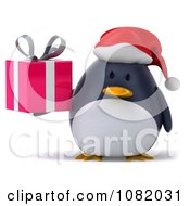 Clipart 3d Chubby Penguin Holding A Christmas Gift 1 Royalty Free CGI Illustration