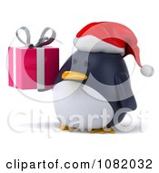 Clipart 3d Chubby Penguin Holding A Christmas Gift 2 Royalty Free CGI Illustration