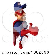 Clipart 3d Super Auto Mechanic Facing Right With A Thumb Up Royalty Free CGI Illustration