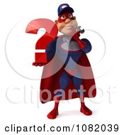 Clipart 3d Super Auto Mechanic Holding A Question Mark Royalty Free CGI Illustration