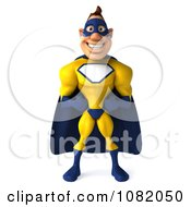 Clipart 3d Male Super Hero In A Blue And Yellow Suit 1 Royalty Free CGI Illustration by Julos