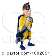 Clipart 3d Male Super Hero In A Blue And Yellow Suit 2 Royalty Free CGI Illustration