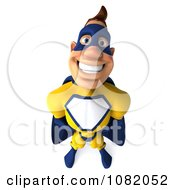 Clipart 3d Male Super Hero In A Blue And Yellow Suit 3 Royalty Free CGI Illustration