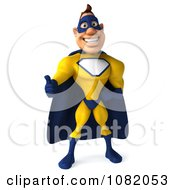 Clipart 3d Male Super Hero Holding A Thumb Up In A Blue And Yellow Suit 1 Royalty Free CGI Illustration