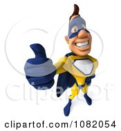 Clipart 3d Male Super Hero Holding A Thumb Up In A Blue And Yellow Suit 2 Royalty Free CGI Illustration
