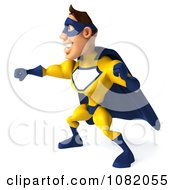 Clipart 3d Male Super Hero Punching In A Blue And Yellow Suit 1 Royalty Free CGI Illustration