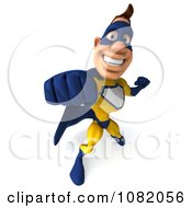 Clipart 3d Male Super Hero Punching In A Blue And Yellow Suit 2 Royalty Free CGI Illustration