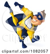 Clipart 3d Male Super Hero Kicking In A Blue And Yellow Suit 1 Royalty Free CGI Illustration