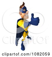 Clipart 3d Male Super Hero Holding A Thumb Up In A Blue And Yellow Suit 3 Royalty Free CGI Illustration