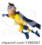 Clipart 3d Male Super Hero Flying In A Blue And Yellow Suit 2 Royalty Free CGI Illustration