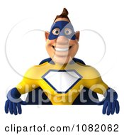 Clipart 3d Male Super Hero In A Blue And Yellow Suit With A Sign 3 Royalty Free CGI Illustration