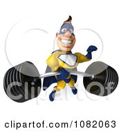 Clipart 3d Male Super Hero Lifting A Barbell With One Hand In A Blue And Yellow Suit Royalty Free CGI Illustration