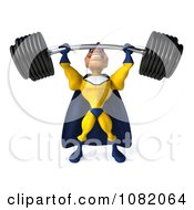Clipart 3d Male Super Hero Lifting A Barbell In A Blue And Yellow Suit 2 Royalty Free CGI Illustration