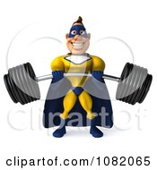 Clipart 3d Male Super Hero Lifting A Barbell In A Blue And Yellow Suit 1 Royalty Free CGI Illustration